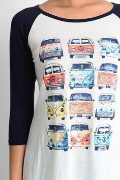This vintage bus graphic will have you road trip ready! 3/4 sleeve 96% Rayon 4% Spandex
