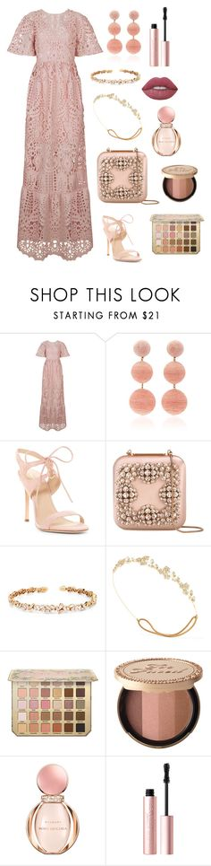 """""""Tuscany"""" by brunaf19 ❤ liked on Polyvore featuring Perseverance London, Rebecca de Ravenel, Pour La Victoire, Manolo Blahnik, Suzanne Kalan, Jennifer Behr, Too Faced Cosmetics, Bulgari and Lime Crime"""