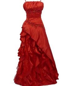 Red full length evening dress adjustable straps lace sequin UK 12-16. Click to buy. Free shipping.