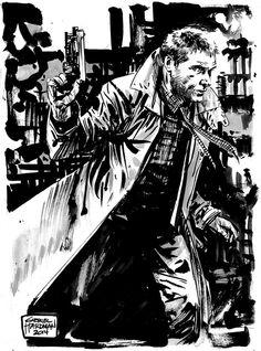 Blade Runner - Dekard by Gabriel Hardman * Blade Runner Art, Blade Runner 2049, Rick Deckard, Geek Art, Cultura Pop, Comic Artist, Vintage Movies, Comic Books Art, Cyberpunk