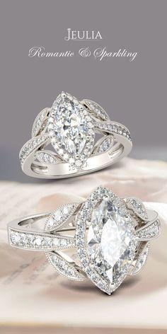 Jeulia Halo Milgrain Marquise Cut Created White Sapphire Engagement Ring #Jeulia