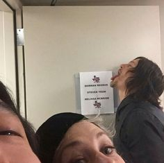 Norman Reedus and Steven Yuen's eye and Melissa McBride's eyes.