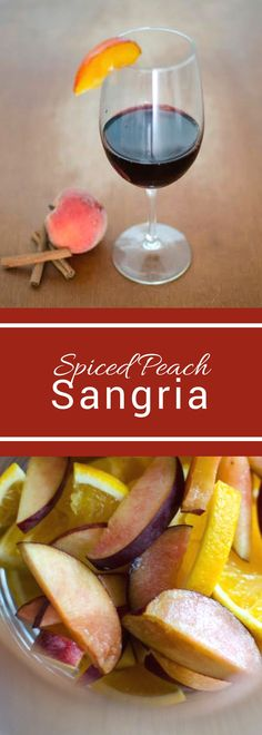 Spiced Peach Sangria, the perfect drink for all your summer parties! With no refined sugar it's the perfect summer treat! #SundaySupper