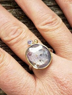 Sapphire in gold ring, bezel setting with Purple hearts carved out on the back of setting,size Purple Sapphire, Natural Sapphire, Crystal Names, Twig Ring, Wide Band Rings, Really Cool Stuff, Gifts For Mom, 18k Gold, Gold Rings