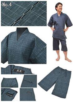 Men (cotton 100%) Yoryu (wrinkle longitudinally) Jimbei for men made in Japan