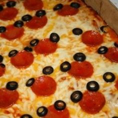 Mickey birthday pizza, Olives and pepperoni...I would substitute the olives with something else.