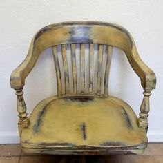 Vintage Solid Wood Swivel Bankeru0027s/Office Arm Chair Hand Painted