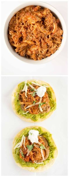 Crockpot Chicken Tinga Tostadas from Slow Cooker Gourmet - a delicious and easy family dinner!