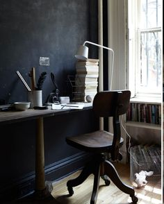 Grey office - Interior stylist Hilary Robertson´s Brooklyn townhouse