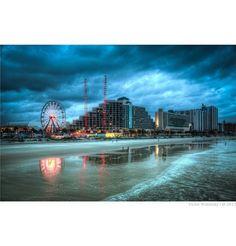 Daytona Boardwalk, Daytona Beach, Florida — by Victor Wolansky. Daytona Beach. #hdr #sky