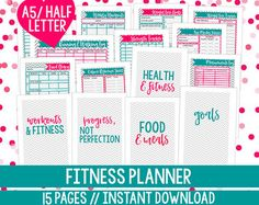 50% OFF Health and Fitness Planner Printable Fitness Inserts