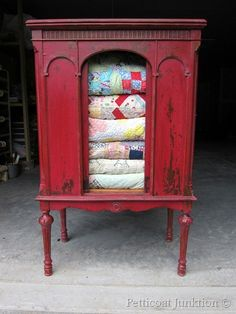 Old radio cabinet turned into blanket cabinet. I would love something similar to store and display quilts . . . once I make them.