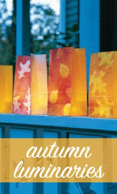 Autumn Luminarias | Martha Stewart Living - These luminarias are perfect for lighting the way to your front porch, on Halloween or for any fall party.