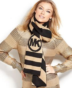 MICHAEL Michael Kors Scarf, Soft Logo Stripe - Hats, Gloves & Scarves - Handbags & Accessories - Macy's