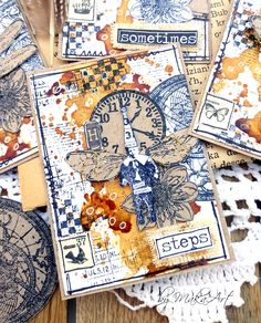 """MM artist trading cards """"About time"""", colored with coffee... Welcome again!      TheApril art journal challenge on ArtGrupa ATC is  very aromatic , c omes from Monika - Kolorowy Ptak and the them..."""