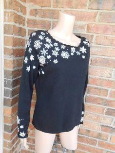 TALBOTS Embroidered Snowflake Sweater Size M Women Top 100% Cotton Black/White #Talbots #ScoopNeck