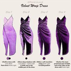 Dress Design Sketches, Fashion Design Sketchbook, Fashion Design Drawings, Fashion Sketches, Fashion Illustration Tutorial, Fashion Drawing Tutorial, Fashion Illustration Dresses, Illustration Techniques, Illustration Art