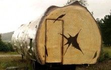 Literal Tree House: Hollow Log Cabin + Huge Mobile Home  ( camouflaged trailer )