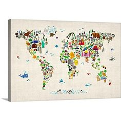 Home Evolution Large Kids Educational Animal/Famous Building World Map Peel & Stick Wall Decals Stickers Home Decor Art