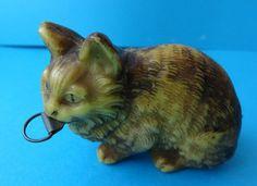 Antique Celluloid Cat Figure Retractable Sewing Tape