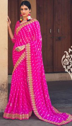 Looking for a unique embroidered work saree? Check out these amazing Gota Patti sarees that can make you look radiant. These rich looking sarees are suitable even for everyday wear! Designer Sarees Wedding, Indian Designer Sarees, Designer Sarees Online, Indian Designer Outfits, Indian Sarees, Lehriya Saree, Bandhani Saree, Lehenga Choli, Pink Saree