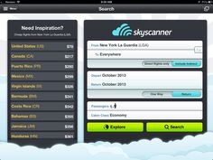 SkyScanner's iPhone app has a search interface for finding cheap flights.