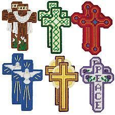 Craftways® He Is Risen Cross Ornaments Plastic Canvas Kit Plastic Canvas Stitches, Plastic Canvas Coasters, Plastic Canvas Ornaments, Plastic Canvas Christmas, Plastic Canvas Crafts, Plastic Canvas Patterns, Plastic Craft, Tissue Box Covers, Tissue Boxes