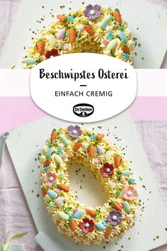 Beschwipstes Osterei Tipsy Easter egg: Easter egg-shaped cream tart with a filling of egg liqueur cream pudding Festival to easter No Egg Desserts, Desserts Ostern, Winter Desserts, Cute Desserts, Delicious Desserts, Dessert Recipes, Nutella, Alphabet Cake, Easter Festival