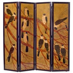 Rare Four Panel Lacquered Screen by André Ducaroy | From a unique collection of antique and modern panelling at http://www.1stdibs.com/furniture/building-garden/panelling/