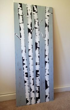 Birch Painting Canvas Cottage Chic by Remarquable on Etsy, $60.00