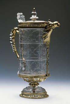 """""""Aguamanil de cristal y plata dorada con tapa y pico en forma de cabeza de ave"""", Anónimo, primer tercio del siglo XIII / siglo XIV / ca. 1610"""