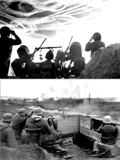 American M16 crew waiting to fire on German plane as vapor trails fill the sky.  German 20mm Flak. Battle of the Bulge, 1944 North Africa, Plane, Fill, Battle, Waiting, German, Sky, Adventure, American