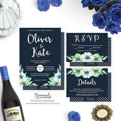 Blue Floral Wedding Invitation Set, Printable Wedding Suite, Watercolor Floral Wedding Printable, Wedding RSVP, Floral RSVP, Wedding Details by RosewoodandCitrus on Etsy