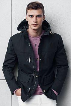 Dark blue duffel coat with hood. #HMMEN