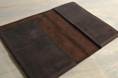 Dark Brown Leather Passport Case, Passport Cover, Travel Document Holder with Optional Custom Branding