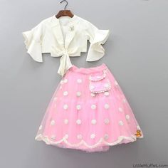 Pre Order: Off-white Top With Baby Pink Embroidered Lehenga