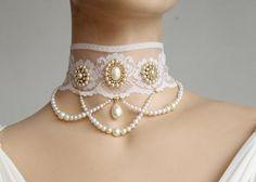 Bridal Choker - Lace And Pearls, Rhinestone Necklace, Chandelier Choker,Victorian Vintage Wedding Jewelry - Beautiful Helena