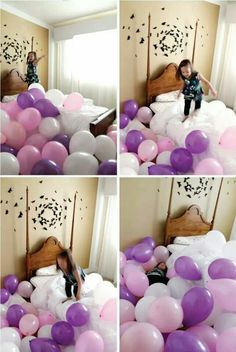 So want to do this to the kids on their birthdays.  When they wake up a room full of balloons!