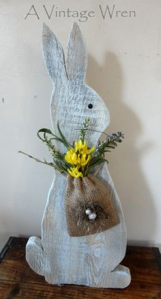 Rustic Easter Bunny/ Wooden Bunny/ Rustic Spring decor/ Painted Rabbit by AVintageWren on Etsy Rustic Decor, Burlap, Reusable Tote Bags, Hessian Fabric, Jute