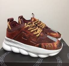 Versace Chain Reaction Sneakers for Men Versace Sneakers, Versace Shoes, Versace Men, Gucci Jordans, Marley Twist Hairstyles, Versace Chain, Chain Reaction, Black Laces, Men's Collection