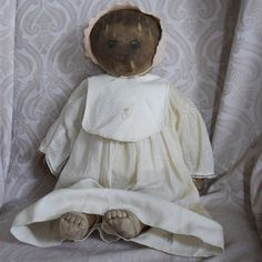 Early Cloth Rag Doll with Lithograph Printing from ~ LYNETTE GROSS ANTIQUE DOLLS ~ found @Doll Shops United http://www.dollshopsunited.com/stores/lynettegrossdolls/items/1302597/Early-Cloth-Rag-Doll-Lithograph-Printing #dollshopsunited