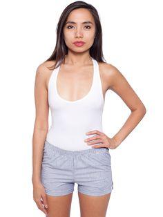 AA Unisex Striped Woven Short in White Royal Mini Stripe $18