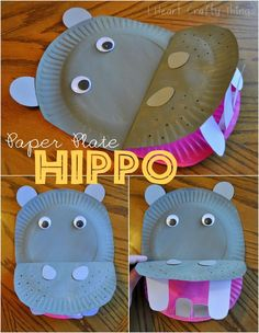 "Eeeek….so excited about how this paper plate Hippo turned out! My daughter has been requesting one of my favorites at bedtime lately, ""The Hiccupotamus"" and combined with the ""Hidden Hippo"" hide-and-seek book we picked up at the library, I knew it was perfect timing for a fun hippo craft.   Hidden Hippo by Joan Gannij …"