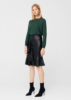 Decorative seams cotton sweater | MANGO