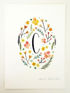 Monogram Letter C Yellow floral art print by AmeliaHerbertson, $15.00