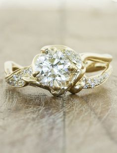 Yellow gold unique engagement ring - Sundara - Ken & Dana Design. Oh my goodness, this site has stunners... I adore how natural they look, like twined sparkling twigs...