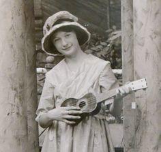 Sweet Young Girl With Ukelele House of David 1910's RPPC Real Photo Postcard