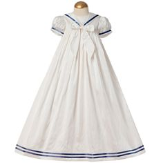 ANGELS  FISHES Baby Ivory Silk Gown with Navy Blue Trims  Bow