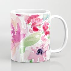 Beautiful watercolor florals in trendy blush pinks make this one of the prettiest mugs around. Enjoy flowers everyday. Available in 11 and 15 ounce sizes, our premium ceramic coffee mugs feature wrap-around art and large handles for easy gripping. Dishwasher and microwave safe, these cool coffee mugs will be your new favorite way to consume hot or cold beverages. #blushpink #mug #kitchensecor