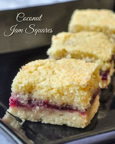 Coconut Jam Squares - a simple recipe for a freezer-friendly cookie bar! - Coconut Jam Squares – a simple but delicious recipe for a freezer-friendly cookie bar! Source by RockRecipes Baking Recipes, Cookie Recipes, Dessert Recipes, Cookie Ideas, Cheesecake Desserts, 100 Cookies Recipe, Sweet Desserts, Rock Recipes, Sweet Recipes
